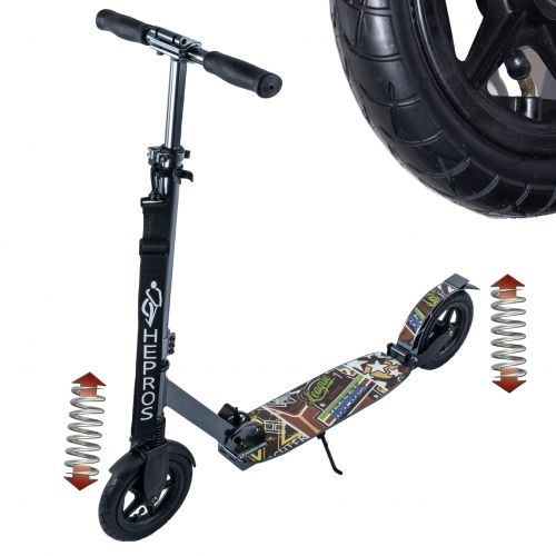 Hepros XXXL Air Fully Løbehjul 200mm folde Scootere antracit