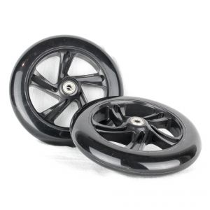PU 200mm Spare Wheels high rebound for Scooter Black - 2 pieces