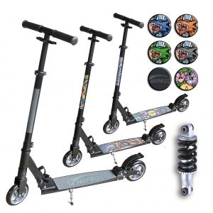Hepros XXL BigWheel Fully Monopattino 145mm Scooter pieghevole Black