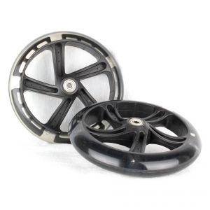 PU 200mm Spare Wheels for Scooter black transparent - 2 pieces