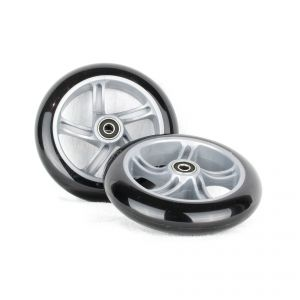 PU 145mm Spare Wheels for Scooter silver black - 2 pieces